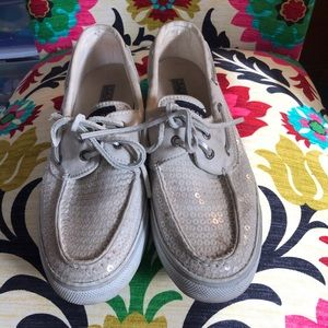Sperry white Sequin boat shoes 7.5